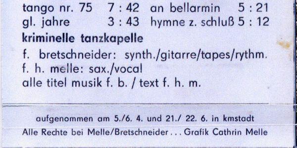 Kriminelle Tanzkapelle_Glückliche Jahre_1985_inlay